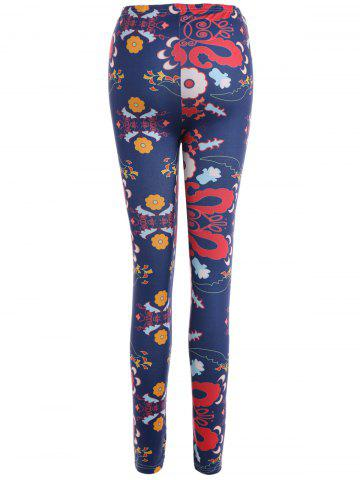 Outfits Abstract Floral Print Stretchy Leggings - M CADETBLUE Mobile