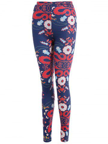 Latest Abstract Floral Print Stretchy Leggings - M CADETBLUE Mobile