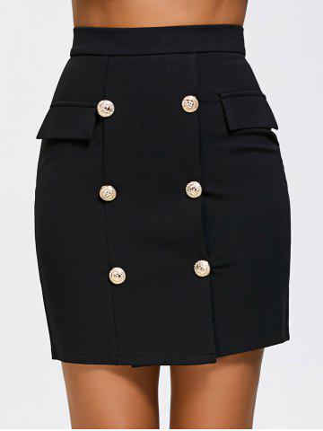 Trendy High Waist Double Breasted Zip Skirt