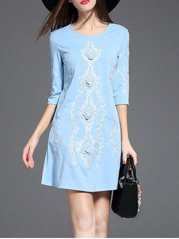 Cheap Ethnic Embroidered A Line Short Dress with Sleeves