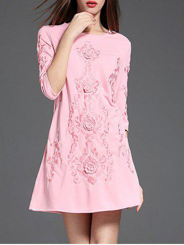 Outfit Ethnic Embroidered A Line Short Dress with Sleeves PINK XL