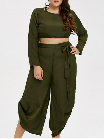 Store Plus Size Cropped Top and Chiffon Palazzo Pants - ARMY GREEN XL Mobile