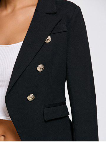 Outfits Double Breasted Slimming Short Blazer - L BLACK Mobile