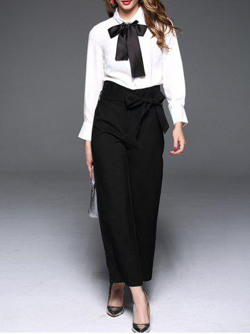 Fashion Pussy Bow Tie Collar Blouse WHITE XL