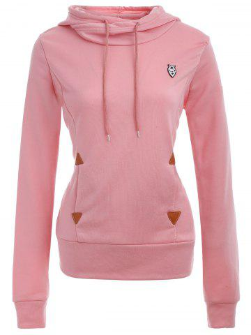 Sale Pocket Patched Pullover Hoodie PINK L