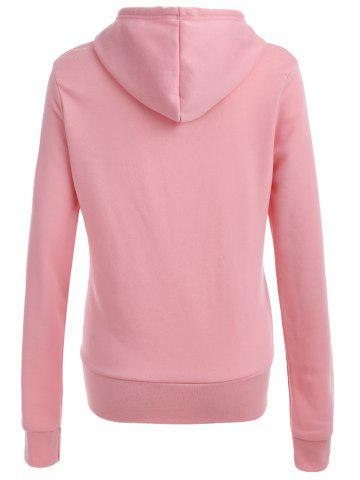 Chic Pocket Patched Pullover Hoodie - PINK L Mobile