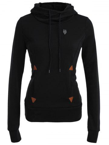 Fashion Pocket Patched Pullover Hoodie - BLACK M Mobile