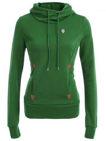 Online Pocket Patched Pullover Hoodie GREEN L