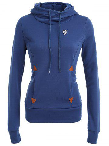 Shops Pocket Patched Pullover Hoodie - DEEP BLUE L Mobile