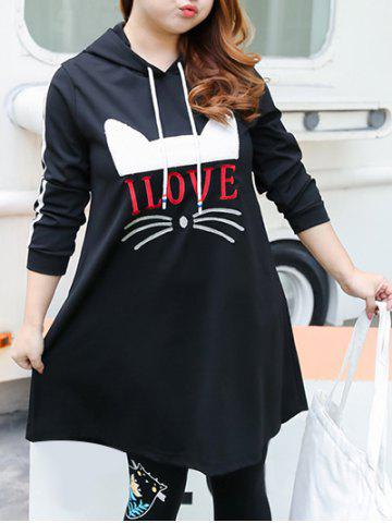 Cheap Plus Size Love Cat Pattern Hooded Dress