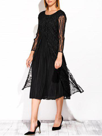 Trendy Chinese Style Lace See Thru Midi Dress