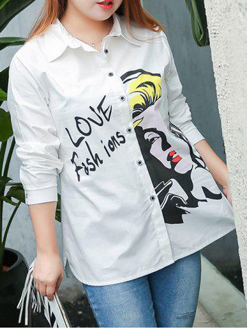 Store Plus Size Letter Character Printed Shirt