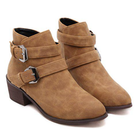 Double Buckle Ankle Vintage Boots - Light Brown - 38