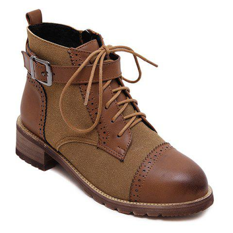 Vintage Lace Up Boots - Brown - 38