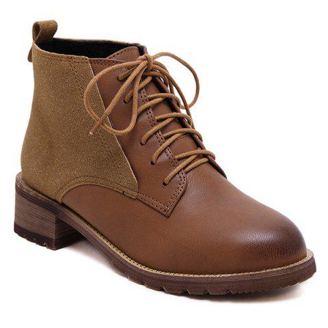 Tie Up Ankle Boots - BROWN 37