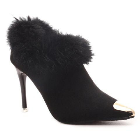 Buy Suede Faux Fur Point Toe Ankle Boots BLACK 39