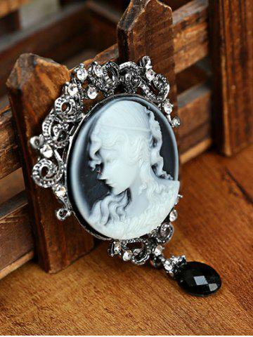 Trendy Round Beauty Head Drop Antique Cameo Brooch Pin - FROST  Mobile