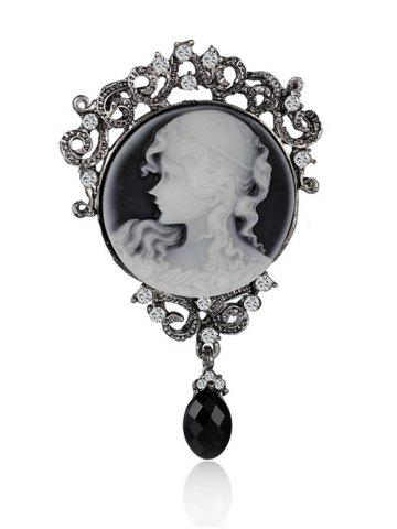 New Round Beauty Head Drop Antique Cameo Brooch Pin