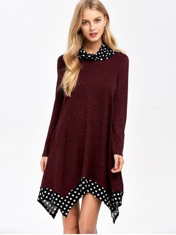 Sale Polka Dot Trim Asymmetrical Dress