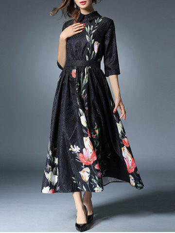 Shop Vintage Floral Jacquard Midi Dress BLACK 2XL