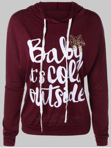 Letter Print Snow Pattern Plus Size Hoodie - Deep Red - 3xl