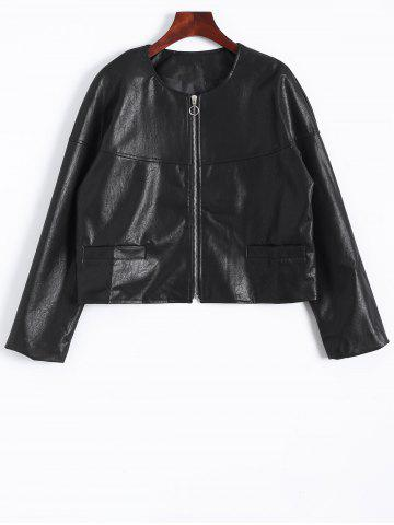 Discount Zip Up Faux Leather Plus Size Jacket