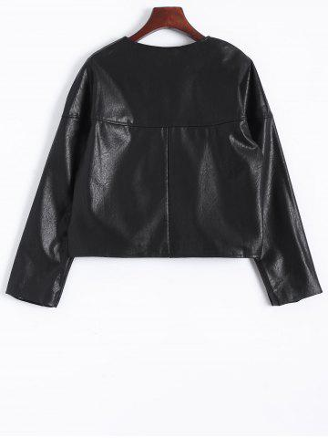 Affordable Zip Up Faux Leather Plus Size Jacket - 2XL BLACK Mobile