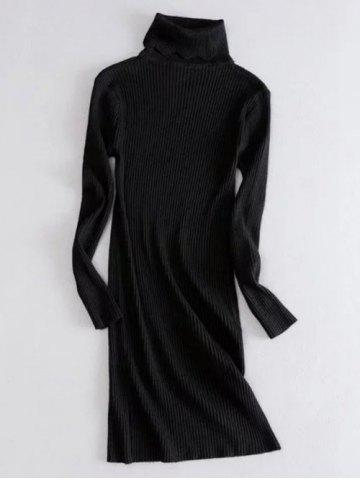 Turtle Neck Ribbed Sweater Dress