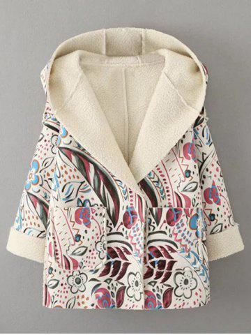 Hooded Wrap Tribal Print Long Suede Coat - Off-white - L