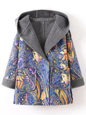 Discount Hooded Wrap Tribal Print Long Suede Coat BLUE S