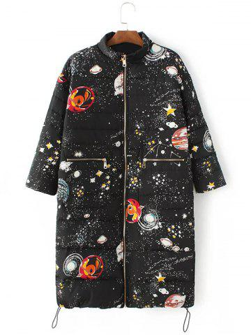 Affordable Starry Sky Print Long Puffer Coat BLACK L
