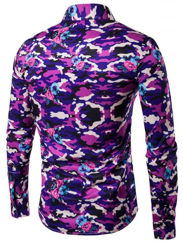 Affordable Camouflage Pattern Turndown Collar Long Sleeve Shirt - L PURPLE Mobile