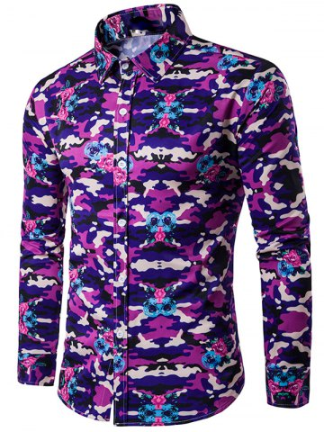 Affordable Camouflage Pattern Turndown Collar Long Sleeve Shirt - M PURPLE Mobile
