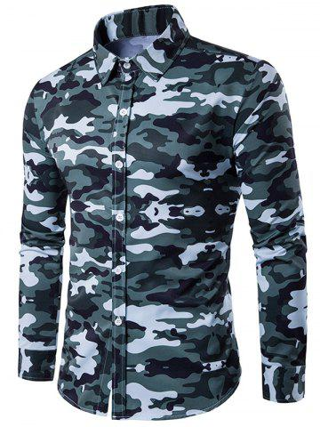Online Camouflage Print Turndown Collar Long Sleeve Shirt BLUE GREEN 2XL