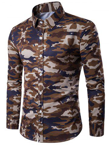 Chic Camouflage Print Turndown Collar Long Sleeve Shirt COFFEE M