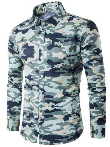 Shop Camouflage Print Turndown Collar Long Sleeve Shirt - XL ARMY GREEN Mobile