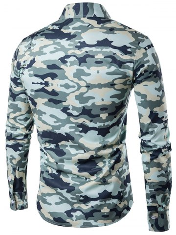 Unique Camouflage Print Turndown Collar Long Sleeve Shirt - XL ARMY GREEN Mobile