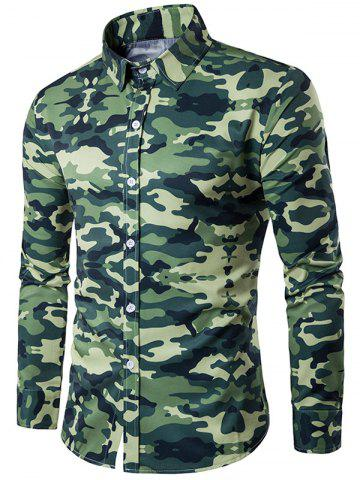 Trendy Camouflage Print Turndown Collar Long Sleeve Shirt BLACKISH GREEN M