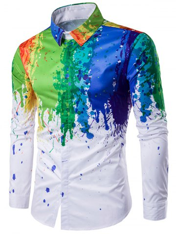 Sale Colorful Splatter Paint Printed Turndown Collar Long Sleeve Shirt