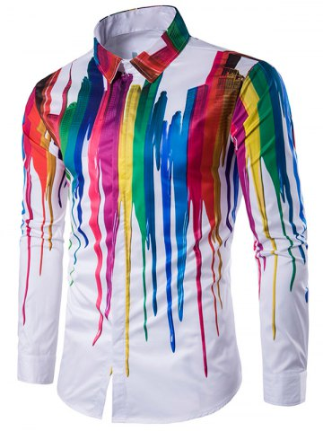 New Colorful Splatter Paint Turndown Collar Long Sleeve Shirt