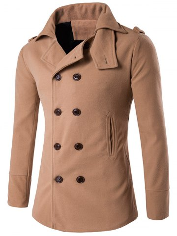 Best Stand Collar Double Breasted Epaulet Wool Coat KHAKI 2XL