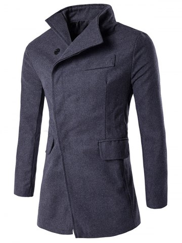 Affordable Covered Button Turndown Collar Back Slit Wool Coat