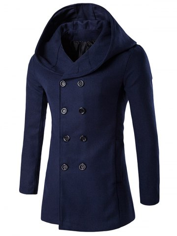 New Hooded Double Breasted Back Slit Wool Coat CADETBLUE 2XL