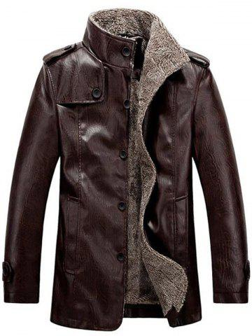 Best Stand Collar Flocking Single Breasted PU-Leather Jacket COFFEE 4XL