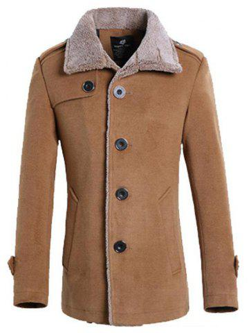 Outfits Turndown Collar Flocking Single Breasted Suede Coat