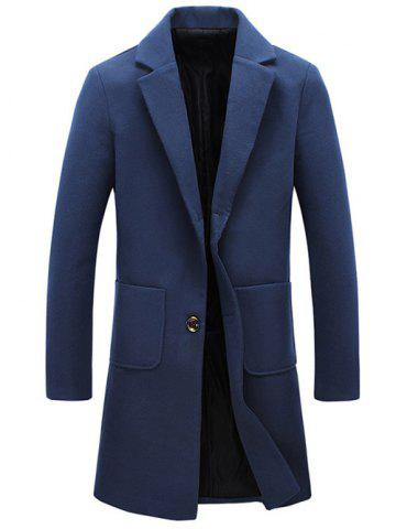 Affordable Turndown Collar Pockets Longline Wool Coat