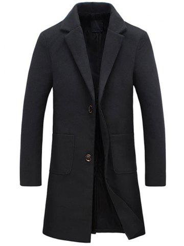 Outfits Turndown Collar Pockets Longline Wool Coat BLACK 5XL