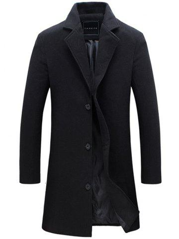 Outfit Longline Single Breasted Woolen Coat - XL BLACK Mobile
