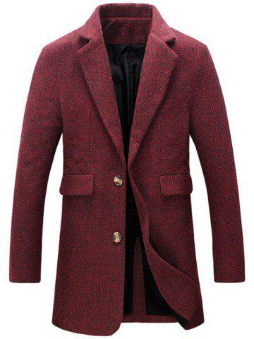 Discount Turndown Collar Cotton Blends Single Breasted Woolen Coat - 2XL RED Mobile