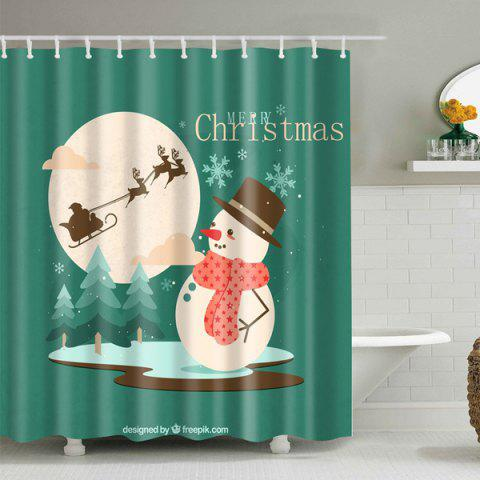 Trendy Christmas Snowman Waterproof Polyester Shower Curtain GREEN L